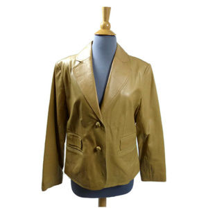 Pamela McCoy Fitted Tan Camel Leather Jacket
